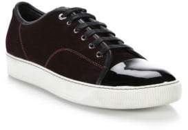 Lanvin Suede& Patent Leather Low-Top Sneakers