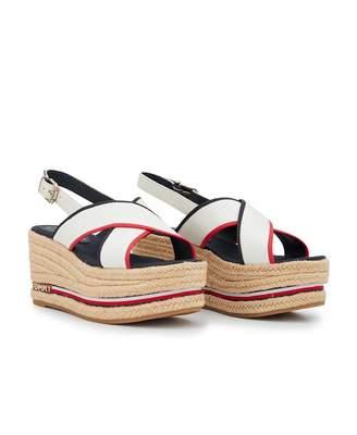 f36f58516f86 Tommy Hilfiger Footwear Corp Ribbon Flatform Sandals Colour  Red White