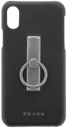 Prada Cover For Men I-phone X Cover In Saffiano Leather With Metal Ring