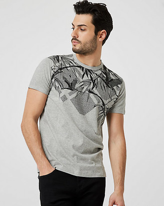 Le Château Bird Print Cotton Blend Crew Neck T-Shirt