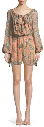Zimmermann Tempest Gathers Floral Long-Sleeve Romper