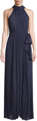 Eliza J Pleated-Skirt Maxi Halter Dress