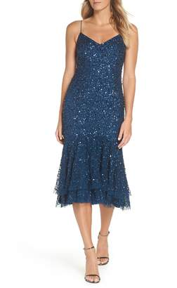 Adrianna Papell Beaded Ruffle Hem Sheath Dress