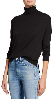 Rag & Bone Bowery Dropped-Shoulder Button-Back Turtleneck Sweater