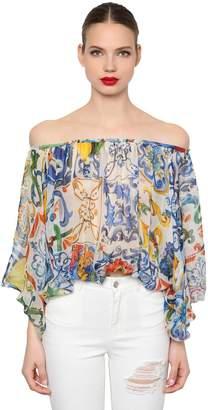 Dolce & Gabbana Off The Shoulder Maiolica Chiffon Shirt