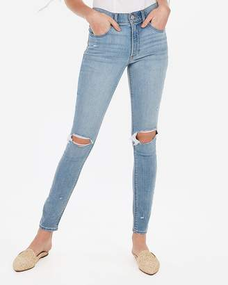 2f3404a50055a6 Express High Waisted Light Wash Ripped Jean Leggings
