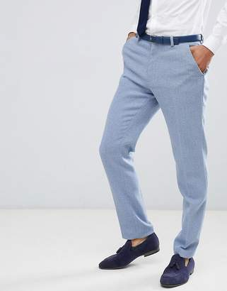 Asos DESIGN wedding skinny suit pants in light blue herringbone