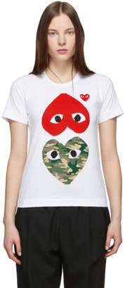 Comme des Garcons White and Red Camo Upside Down Heart T-Shirt