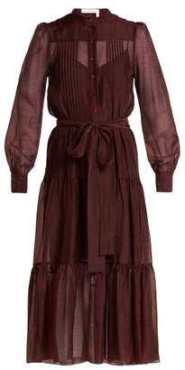 See by Chloe Tie Waist Pleated Voile Dress - Womens - Burgundy