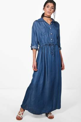 boohoo Katie Maxi Denim Shirt Dress $52 thestylecure.com