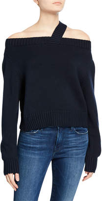 RtA Beckett Off-Shoulder Sweater, Navy
