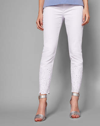 Ted Baker MARRIAA Embroidered hem skinny jeans
