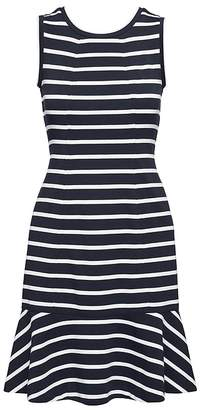 Banana Republic Stripe Paneled Ponte Fit-and-Flare Dress