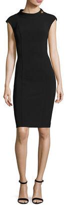 Badgley Mischka Cap-Sleeve Turn-Lock Ponte Sheath Dress $355 thestylecure.com