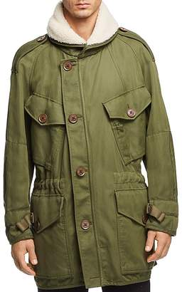 Burberry Herman Field Jacket with Shearling Trim