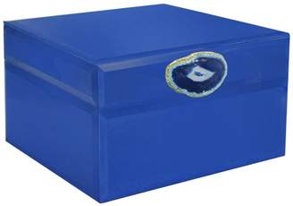 Jay Import Blue/Dark Cobalt Agate Detail Jewelry Box