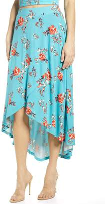 BP Floral Print High/Low Midi Skirt
