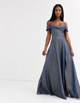 Goddiva sweetheart neck maxi dress with leg split in winter blue