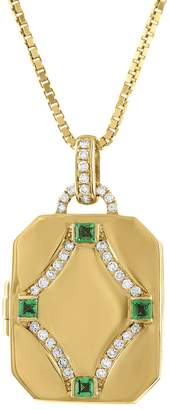 story. My Diamond and Emerald Square Locket Necklace - Yellow Gold