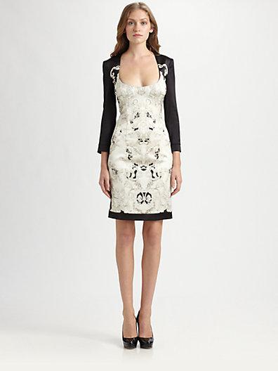 Just Cavalli Temple-Print Satin Dress
