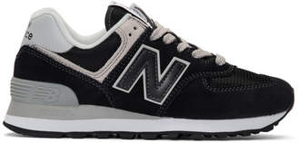 New Balance Black and White 574 Sneakers