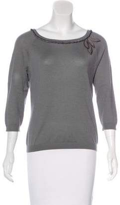 Alberta Ferretti Silk-Trimmed Cashmere Sweater