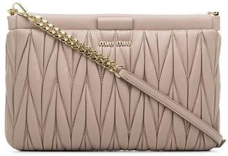Miu Miu pink leather Matelassé leather quilted clutch bag
