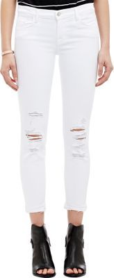 J Brand Women's 9326 Cropped Skinny Jeans-WHITE $178 thestylecure.com