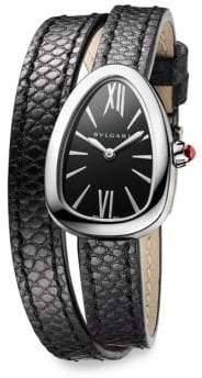 Bvlgari Serpenti Stainless Steel, Diamond& Black Karung Strap Watch