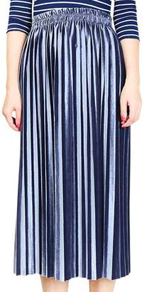 Aivtalk Thick Metallic Velvet Midi Dress for Female A-Line Lightweight Stretchy High Waist Daily Wear Vintage Soft Solid Pleated Skirt Size XL