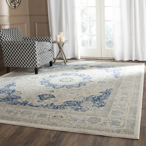 Bungalow Rose Ameesha Ivory/Blue Area Rug Rug