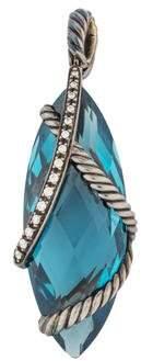 David Yurman Topaz & Diamond Cable Wrap Pendant