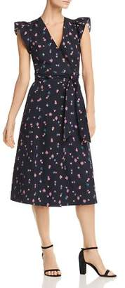 Rebecca Taylor Farren Flower-Print Wrap Midi Dress