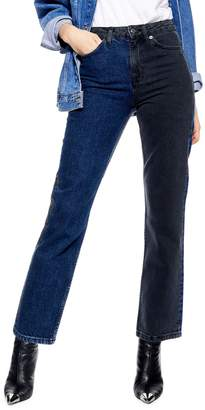 Topshop Colourblocked Straight-Leg Jeans 30-Inch Leg