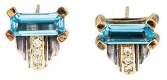Lagos Topaz & Diamond Delta Glacier Earrings