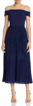 Aidan Mattox Off-the-Shoulder Pleated Dress
