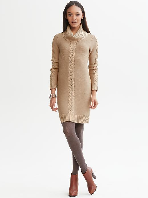 Banana Republic Cable-knit cowl sweater dress