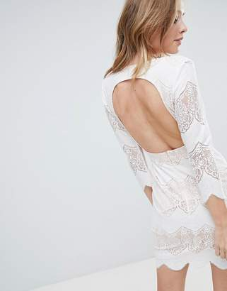 Oh My Love Lace Long Sleeve Dress With Open Back