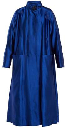 Roksanda Karel High Neck Wool Blend Coat - Womens - Blue