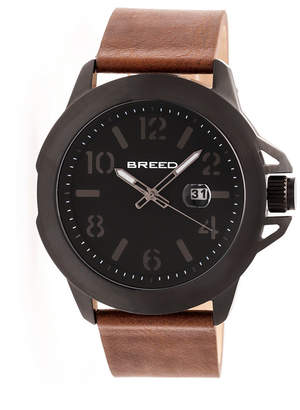 Breed Quartz Bryant Black And Brown Genuine Leather Watches 44mm