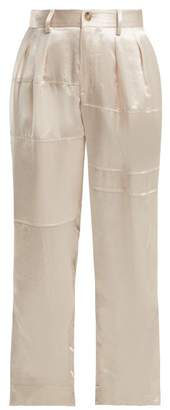 Koché High Rise Hammered Satin Trousers - Womens - Cream