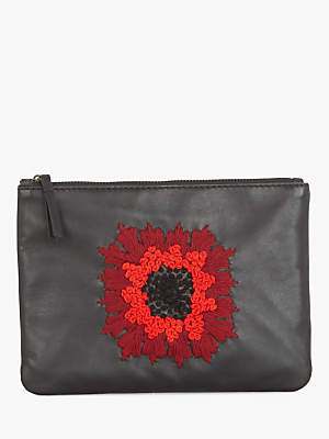 Gerard Darel Leather Embroidered Flower Pouch, Black