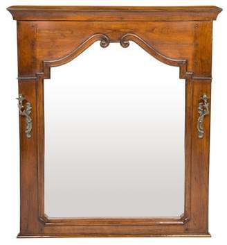 French Heritage Wood Wall Mirror w/ 2 Sconces