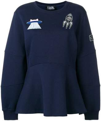 Karl Lagerfeld space peplum patch sweatshirt
