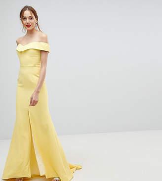 Bardot Jarlo Tall Maxi Dress With Thigh Split And Train Detail