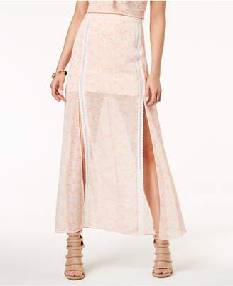GUESS Mala Printed Crochet-Trim Skirt