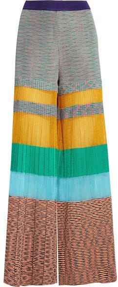 Missoni - Pleated Striped Crochet-knit Wide-leg Pants - Yellow