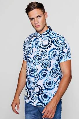boohoo Tie Dye Print Short Sleeve Shirt