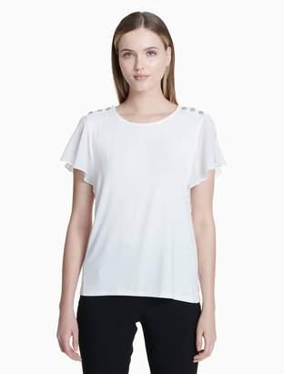 Calvin Klein button short flutter sleeve top