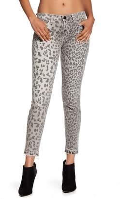Current/Elliott The Stiletto Leopard Print Raw Hem Jeans